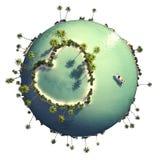 Planeta con la isla en forma de corazón stock de ilustración