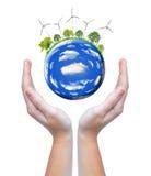 Planeta con las turbinas de viento Fotografía de archivo libre de regalías