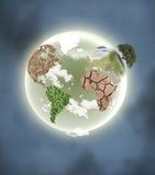 Planeta con los continentes Foto de archivo libre de regalías