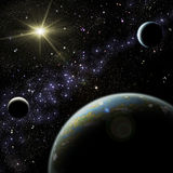 Planeta con los satélites Imágenes de archivo libres de regalías