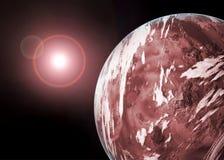 Planeta con luz de las estrellas ilustración del vector
