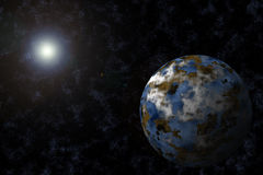 Planeta con Starfield y la flama ilustración del vector
