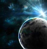 Planeta con un flash del sol Fotos de archivo libres de regalías