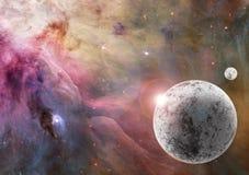 Planeta congelado desconocido en espacio profundo stock de ilustración