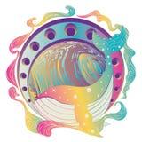 Planeta da baleia e do mármore ilustração do vetor