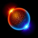Planeta da esfera do incêndio e de gelo Foto de Stock