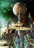 Planeta da nave espacial e do estrangeiro Imagem de Stock