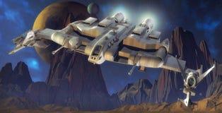 Planeta da nave espacial e do estrangeiro ilustração royalty free