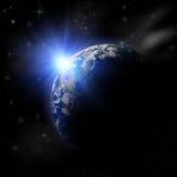planeta da terra 3D no sol azul Foto de Stock Royalty Free