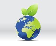 Planeta da terra com folhas ilustração stock