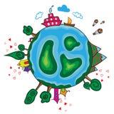 Planeta da terra dos desenhos animados Fotos de Stock Royalty Free