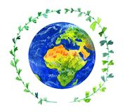 Planeta da terra no círculo verde do galho Ilustração tirada mão da aguarela Imagem de Stock