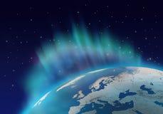Planeta das luzes do norte ilustração stock