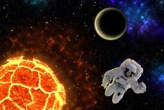 Planeta de explosão com astronauta, elementos desta imagem fornecidos pela NASA Imagem de Stock