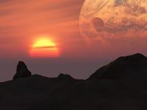 Planeta de la fantasía de la puesta del sol de la tierra Fotografía de archivo libre de regalías