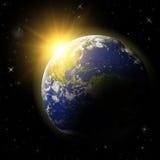 planeta de la tierra 3D en espacio Imagenes de archivo