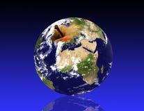 Planeta de la tierra, como una manzana ilustración del vector