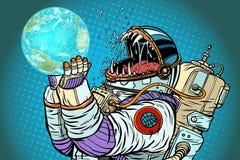 Planeta de la tierra del monstruo del astronauta Avaricia y hambre de la humanidad concentradas stock de ilustración