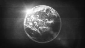 Planeta de la tierra en el filtro retro de la TV blanco y negro stock de ilustración