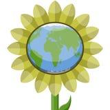 Planeta de la tierra en un girasol libre illustration