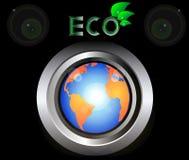 Planeta de la tierra verde de Eco en negro del botón del metal Imagenes de archivo