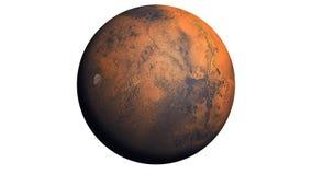 Planeta de Marte aislado en blanco fotos de archivo