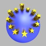 Planeta de oro del azul de las estrellas de la unión europea Foto de archivo