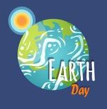 Planeta del Día de la Tierra con el cartel de Sun y de la sol libre illustration