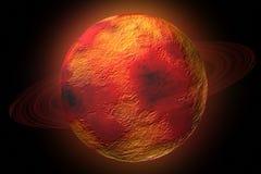 Planeta del fuego con los anillos y el resplandor Imagenes de archivo