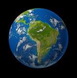 Planeta del globo de la tierra de Suramérica en negro Fotos de archivo