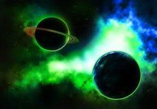 Planeta del paso con una nebulosa colorida llameante Foto de archivo libre de regalías