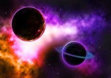 Planeta del paso con una nebulosa colorida llameante Fotografía de archivo libre de regalías