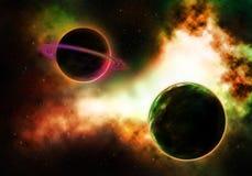Planeta del paso con una nebulosa colorida llameante Imágenes de archivo libres de regalías