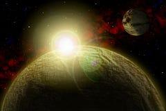 Planeta desconocido Coloree la estrella, sol, luna, estrellas, nebulosa del espacio Base: phototextures del ` s del autor Foto de archivo