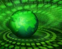 Planeta digital verde del pixel stock de ilustración