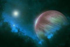 Planeta distante con las estrellas brillantes en galaxia del espacio profundo Foto de archivo