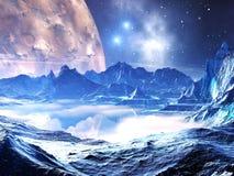 Planeta distante en el apretón del invierno ilustración del vector
