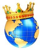 Planeta do globo da terra com a coroa real dourada ilustração do vetor