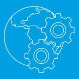 Planeta do mundo e ícone das engrenagens, estilo do esboço Fotografia de Stock