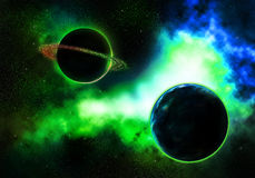 Planeta do ritmo com uma nebulosa colorida flamejante Foto de Stock Royalty Free