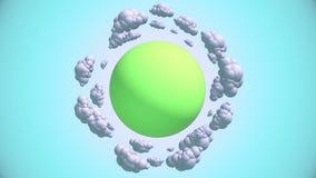 Planeta dos desenhos animados com nuvens do voo ilustração royalty free