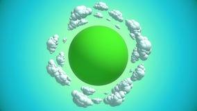 Planeta dos desenhos animados com nuvens do voo ilustração do vetor