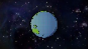 Planeta dos desenhos animados no estilo do pixel do espaço ilustração do vetor