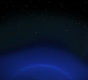 Planeta e estrelas azuis fotos de stock