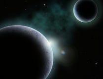 Planeta e lua Fotografia de Stock