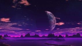 Planeta e lua fantásticos ilustração royalty free