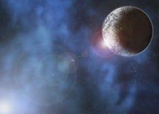 Planeta en espacio nublado ilustración del vector