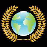 Planeta en guirnalda de oro Fotografía de archivo libre de regalías