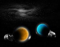 Planeta en lámpara Imagenes de archivo