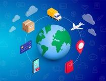Planeta en línea del concepto que hace compras stock de ilustración